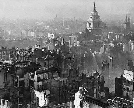 St Paul's Cathedral after the German bombing of London, c. 1940. View from St Paul's Cathedral after the Blitz.jpg