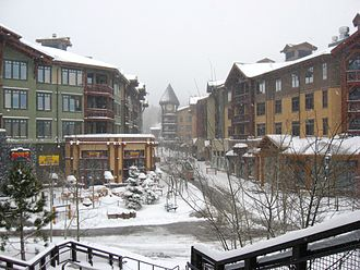 Mammoth Mountain Ski Area - The Village at Mammoth as seen from the Village Gondola station (April, 2010)
