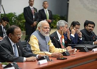 Subrahmanyam Jaishankar - On left to PM Modi is Foreign Secretary S Jaishankar and on right side is National Security Adviser Ajit Doval.