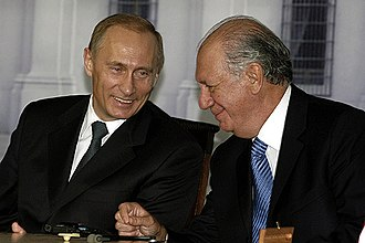 Chile–Russia relations - President Vladimir Putin with President Ricardo Lagos during Putin's state visit to Chile in November 2004.