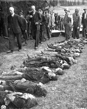 Expulsion of Germans from Czechoslovakia - Sudeten Germans are forced to walk past the bodies of 30 Jewish women starved to death by German SS troops in Volary (total of 95 women were tortured to death here)