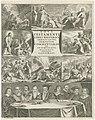 Voorstellingen uit het Nieuwe Testament en negen geleerden rond een tafel Titelpagina voor Balduinus Walaeus, Novi Testamenti libri historici (..), 1653 en 1662, RP-P-1938-195.jpg