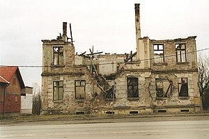 destroyed house in vukovar, croatia