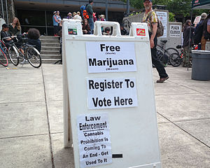 Effects of legalized cannabis - A sign supporting marijuana legalization at the Wayne Morse Free Speech Plaza in Eugene, Oregon