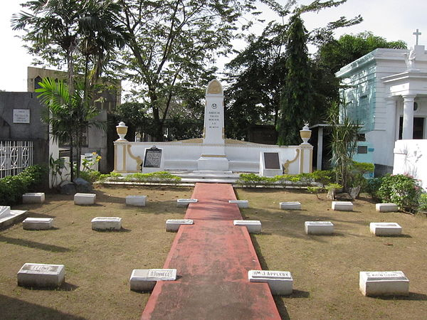 Several Thomasites are interred at the American Teachers Memorial, a special plot inside the Manila North Cemetery. The current memorial was erected in 1917. WTMP Foodtrippings D19.JPG