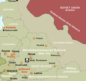 Maly Trostenets extermination camp - Maly Trostenets on the map of major ghettos in Reichskommissariat Ostland. The camp's location is marked by the black-and-white skull icon.