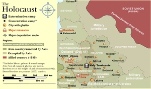 The Holocaust in Russia - A map of the Holocaust in Reichskommissariat Ostland, which included  Russia