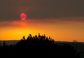 Wallow Fire - Smoke from Wallow Fire in Albuquerque, sunset, June 7, 2011