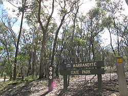 The Warrandyte State Park at the tunnel street entrance