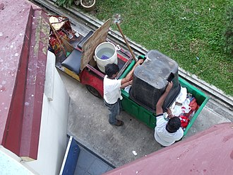 Waste collection - Manual waste collection in Bukit Batok West, Singapore.