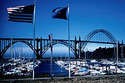 Newport waterfront with the Yaquina Bay Bridge in the background.