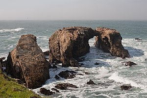 Point Buchon State Marine Reserve and Marine Conservation Area - Arches and sea stacks of Miguelito shale, Point Buchon.