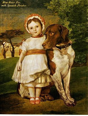 Marie Fox - Marie Fox, aged three, with her pointer Ella, painted by George Frederic Watts