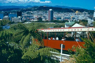 Locations in New Zealand with a Scottish name - Panorama of Wellington including the Kelburn cable car.