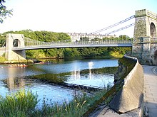 The bridge spans the River Dee at its narrowest point