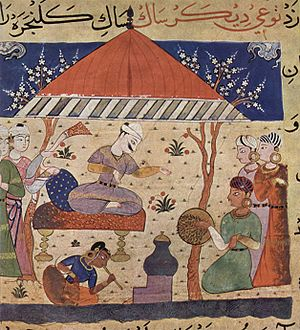 Malwa Sultanate - An illustration from the manuscript of the Nimat Nama completed during the reign of Nasir-ud-Din Shah