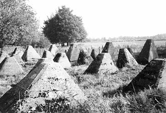 Dragon's teeth (fortification) - Dragon's teeth near Aachen, Germany, part of the Siegfried Line.