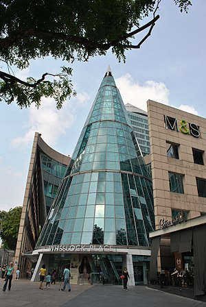 Wheelock Place - Wheelock Place's Orchard Road entrance with its distinctive conical glass structure.