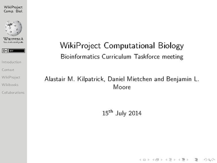 File:WikiProject Computational Biology presentation at Bioinformatics Curriculum Taskforce meeting at ISMB 2014.pdf