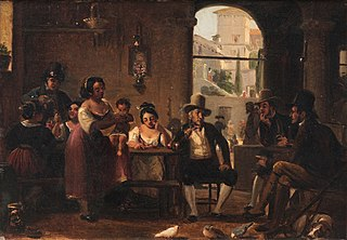 From a Roman Osteria. Pipe-Smoking Hunters and Italian Women