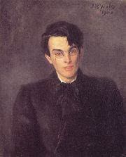 William Butler Yeats, 1900; portrait by his father John Butler Yeats.