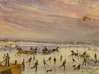 Lake Ontario - Winter scene on Toronto Bay in 1835