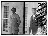 Woldegiorgis Woldeyohannes (Waldagiyorgis Waldayohanes)(right), personal secretary to Haile Selassie, Emperor of Ethiopia and man in military uniform (left), Jerusalem LOC matpc.10375.jpg