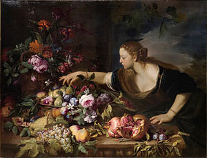 Abraham Brueghel - Woman grasping fruits