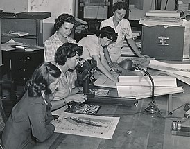 Women USGS geologists working with maps during WWII (crop).jpg