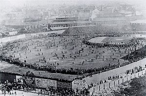 South End Grounds - 1903 World Series – Huntington Avenue Grounds in the foreground, the third South End Grounds in the hazy background to the upper right