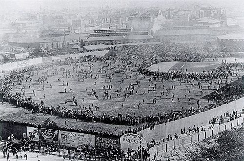 Iconic photo of the Huntington Avenue Grounds before the first modern World Series game WorldSeries1903-640.jpg