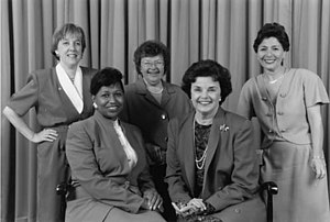 Carol Moseley Braun - Female Senators of the Democratic Party, 1993.  Top Row (L-R): Sen. Patty Murray (D-WA), Sen. Barbara Mikulski (D-MD), Sen. Barbara Boxer (D-CA) Bottom Row: Sen. Carol Moseley Braun (D-IL), Sen. Dianne Feinstein (D-CA)
