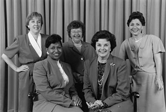 Carol Moseley Braun - Female Senators of the Democratic Party, 1993.  Top Row (L-R): Sen. Patty Murray (D-WA), Sen. Barbara Mikulski (D-MD), Sen. Barbara Boxer (D-CA) Bottom Row: Sen. Carol Moseley Braun (D-IL), Sen. Dianne Feinstein (D-CA)