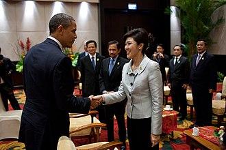 Yingluck Shinawatra - Yingluck greeting US President Barack Obama at the ASEAN Summit in Nusa Dua, Bali, Indonesia, 18 November 2011