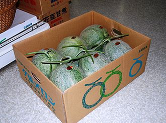 Yubari King - Three pairs of Yubari King melons packed in cardboard for transport