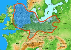 Zechstein - Zechstein Sea shown on a map of Northern Europe