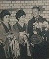 Zimbalist, Mori, Murata 1922 Tokyo station.jpg