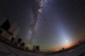 Scattering - Zodiacal light is a faint, diffuse glow visible in the night sky. The phenomenon stems from the scattering of sunlight by interplanetary dust spread throughout the plane of the Solar System.