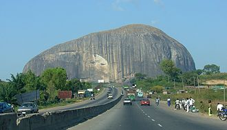 Gabbro - Zuma Rock, Nigeria, a massive, nearly uniform, intrusion of gabbro and granodiorite.