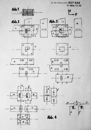 Z1 (computer) - Diagrams from Zuse's May 1936 patent for a binary switching element using a mechanism of flat sliding rods. The Z1 was based on such elements.