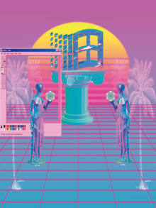 """Evolution"" and life in vaporwave flavours. (48475685782).png"