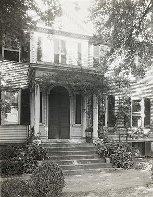 "Robert Brooke (Virginia) - ""Federal Hill,"" John Keim house, 504 Hanover Street, Fredericksburg, by Frances Benjamin Johnston, ca. 1927. Rupert Brooke, governor of Vigirnia, 1794-1796 and founder of the national Federal party, purchased this house and named it ""Federal Hill."" Today is a private residence with door and door canopy replaced"