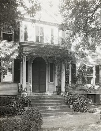 """Robert Brooke (Virginia) - """"Federal Hill,"""" John Keim house, 504 Hanover Street, Fredericksburg, by Frances Benjamin Johnston, ca. 1927. Rupert Brooke, governor of Vigirnia, 1794-1796 and founder of the national Federal party, purchased this house and named it """"Federal Hill."""" Today is a private residence with door and door canopy replaced"""