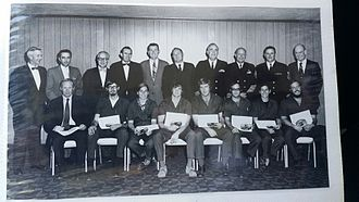 SEALAB - Anne Rudloe third from left in United States Naval base in Panama City in underwater research and diving techniques 1960s. In the back row, fourth from the right, is Dr. (Captain) George F. Bond, senior medical officer and principal investigator for the Sealab I and Sealab II experiments in the mid-1960s.