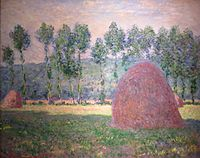 'Haystacks at Giverny' by Claude Monet, 1884-89, Pushkin Museum.JPG