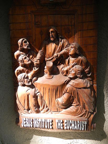 File:'Jesus institute the Eucharist' relief in Calaca Church, Batangas, PH.jpg