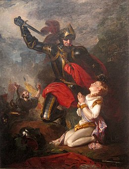 Victorian oil painting depicting the killing of the Earl of Rutland