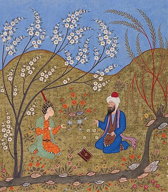 A Persian miniature depicting the medieval saint and mystic Ahmad Ghazali (d. 1123), brother of the famous Abu Hamid al-Ghazali (d. 1111), talking to a disciple, from the Meetings of the Lovers (1552) Akhmad Gazali, beseduiushchii s uchenikom.jpg