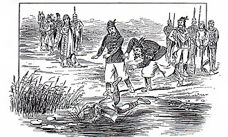 Magyar–Serb conflict - Illustration of Časlav being thrown into the Sava by the Magyars