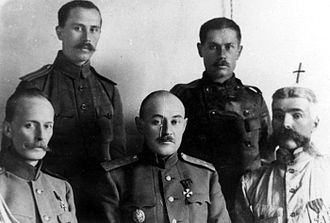 Don Army - Don Army commanders for left to right : standing : Grigory Kislov and Vladimir Dobrynin. Sitting : Anatoliy Keltchevski, Vladimir Sidorin and Lieutenant-General Konstantin Mamontov. (The cross over Mamontov's head was drawn by the photographer after he died.)